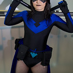 MCM Manchester Comic Con 2016, Cosplay, Cosplayer, Female, DC Comics, Comics, Animated Series, Video Games, Batman, Nightwing, Hero, Jumpsuit, Gloves, Gauntlets, Batons, Mask, Boots, Black,  ...