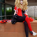 MCM Comic Con Manchester 2016, Cosplay, DC Comics, Harley Quinn, Gothic, Corset, Dress, Fan, Boots, Red, Black, Grey, Burlesque, Ruffles, Tights, Blouse, Jacket, Coat, Bows, High Heels, Mask ...