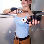 MCM Manchester Comic Con 2016, Cosplay, Cosplayer, Female, Video Games, Comics, Films, Lara Croft, Tomb Raider, Sony Playstation, Xbox, Explorer, Archeologist, Adventurer, Tank Top, Vest, Sh ...