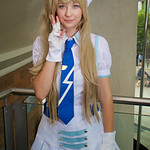 MCM Manchester Comic Con 2016, Cosplay, Cosplayer, Female, Anime, Manga, Blouse,  Skirt, Hat, Flower, Socks, Gloves, Tie, Buttons, Pleats, Boots, White, Blue, Gold, Wig