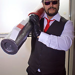 MCM Manchester Comic Con 2016, Cosplay, Cosplayer, Male, Anime, Manga, RWBY, Suit, Shirt, Tie, Waistcoat, Gloves, Pants, Shoes, Glasses, Sun Glasses, Rocket Launcher, Black, Red, Whist, Silv ...