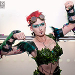 MCM Manchester Comic Con 2016, Cosplayer, Female, Batman, Poison Ivy, Green, Corset, Pants, Shoes, Feathers, Face Paint, Goggles, Arm Guards, Gloves, Shoulder Pads, Red, Vines, Cosplay, Girl ...