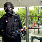 MCM Manchester Comic Con 2016, Cosplayer, Male, Video Game, Comics, Films, Resident Evil, Umbrella Corporation, Racoon City, Military, Soldiers, Military, Guns, Gun, Machine Gun, Utility Bel ...
