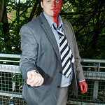 Cosplay, Cosplayer, Male, Manchester Summer Mini Con, DC Comics, Comics, Batman, Two Face, 2 Face, Harvey Dent, Criminal, Lawyer, District Attorney, Scar, Scarred, Suit, Shirt, Pants, Tie, J ...