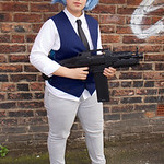 Cosplay, Cosplayer, Female, Manga, Anime, Video Games, Shirt, Tie, Waistcoat, Pants, Boots, Shoes, Wig, Black, White, Grey, Blue, Gold, Weapon, Machine Gun