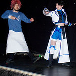Cosplay, Cosplayers, Male, Female, Manchester Summer Mini Con, Manga, Anime, Video Games, Wig, Top, Apron. Blue, White, Red, Jacket, Shirt, Gloves, Weapon, Boots, Socks, Bow, Belt, Black