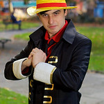 NW Cosplay Halloween Meet 2016, Anime, Manga, Cosplay, Cosplayer, Male, Hat, Jacket, Shirt, Pants, Red, Black, White, Gold, Park, Trees, Green, Grass, Leaves, Brown, Orange