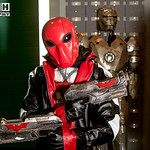 Salford Comic Con 2017, Cosplay, Cosplayer, Male, Man, Redhood, Body Amour, Amour, Body Suit, Mask, Leather Jacket, Machine Gun, Gun, Gloves, Black, Red, Silver, Comics, DC Comics, Comics, V ...