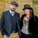 Whitby Gothic Weekend, Whitby Gothic Weekend April 2017, Whitby, WGW, Goth, Gothic, Couple, Male, Female, Man, Woman, Victorian, Corset, Jacket, Coat, Waist Coat, Shirt, Bow Tie, Pants, Belt ...