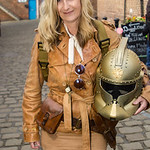 Whitby Goth Weekend, Whitby Gothic Weekend April 2017, WGW, Whitby, Goth, Gothic, Female, Woman, Steampunk, Jacket, Sun Glasses, Back Pack, Belt, Buckles, Straps, Scalf, Scarf, Leather Jacke ...