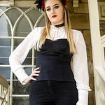 Whitby Gothic Weekend, Whitby Gothic Weekend April 2017, Whitby, WGW, Goth, Gothic, Female, Woman, Girl, Headress, Blouse, Dress, Tights, Skirt, Boots, High Heeled Boots, Necklace, White, Bl ...